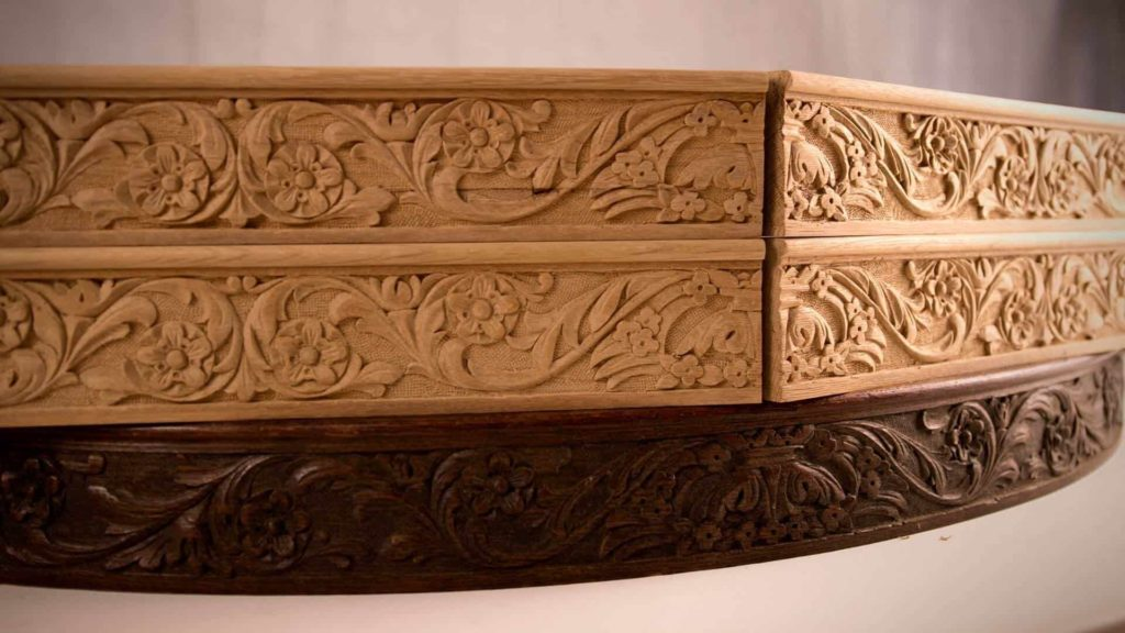 Woodcarving School | Carving Dining Table Apron | Furniture Carving | Decorative Wood Carving | https://schoolofwoodcarving.io